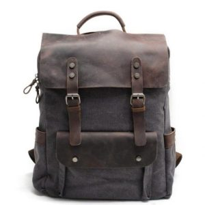 MESSENGER Dark Grey Leather and Canvas Daily Backpack