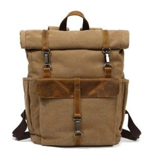 Brussels Khaki Roll up retro backpack