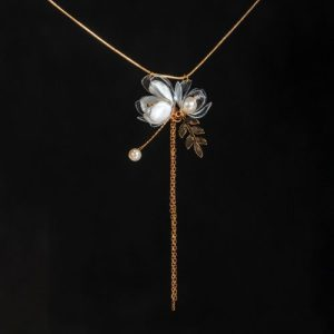 Jasmine Triple-Flower Drop Necklace
