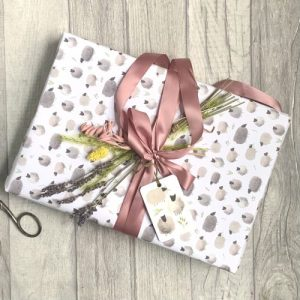Sheep gift wrap sheets. 100% recyclable. Pack of 25 sheets and matching gift tags