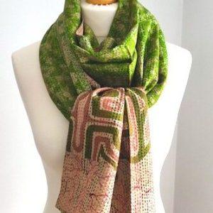 Flower Print Upcycled Kantha Sari Silk Scarf – Spring Green