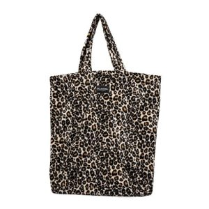 Ellastiek dames tassen – dames shopper met zijvakje + rits – XL formaat – panterprint – handmade in Amsterdam (XL bag Melissa)