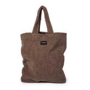 Ellastiek teddy dames tas – dames shopper met zijvakje + rits – XL formaat – Bruine teddy stof – handmade in Amsterdam (XL bag Britt)