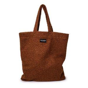 Ellastiek dames tassen – dames shopper met zijvakje + rits – XL formaat – Bruine Bouclé stof – handmade in Amsterdam (XL bag Tanina)