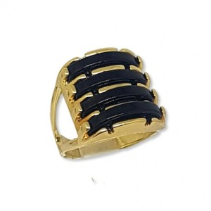Four Layered Black Agate Gems Ring