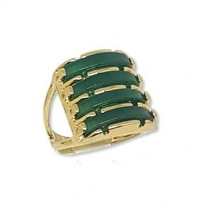 Four Layered Green Agate Gems Ring - 0699greenagtgold 740x 500x500