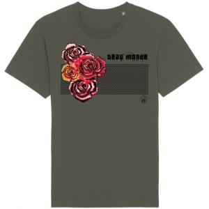 CLAUDIA FÜRST • TShirt • VIVI short sleeve • Beau Monde - 5ClaudiaFurst TShirt Vivi ShortSleeve Khaki BeauMonde.Roses . Front 500x500
