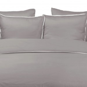 Duvet Cover BAMBOO DAWN with MIST LINEN PIPING 240x220cm incl 2 Pillow Covers 60x70cm