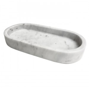 Marble Tray, oval white