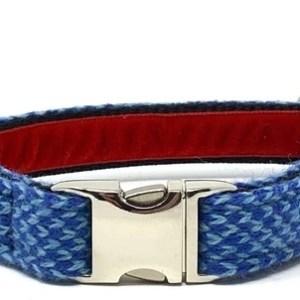 Royal Blue & Turquoise - Harris Design - Dog Collar - RB TurqHarriscopy 590x 500x302