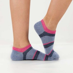 Neon Stripes Ankle Socks [Fuchsia]