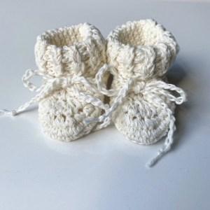 Cotton Tie Booties – Cream