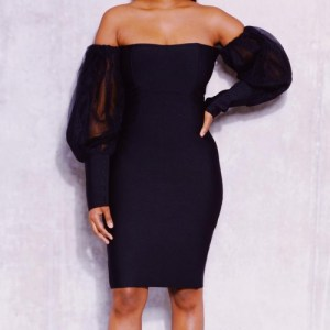 Black bandage bandeau dress with sheer pouffe sleeves