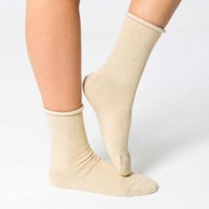 Shiny Plain Sock [Beige]