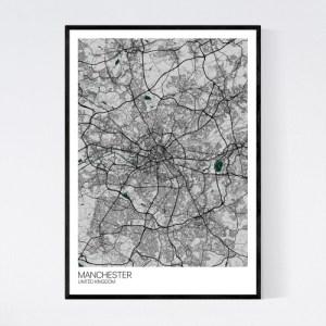 Manchester City Map Print – Grey/Green