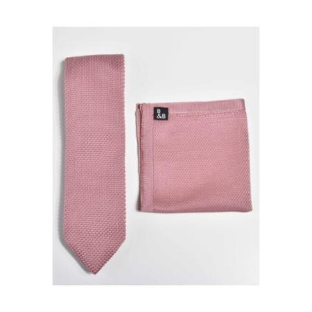 Antique rose knitted tie and pocket square set