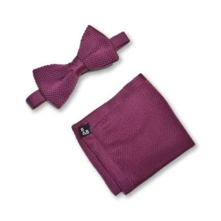 Berry pink knitted bow tie and pocket square set