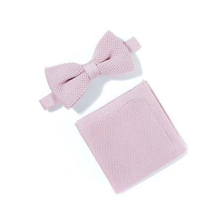 Dusty pink knitted bow tie and pocket square set