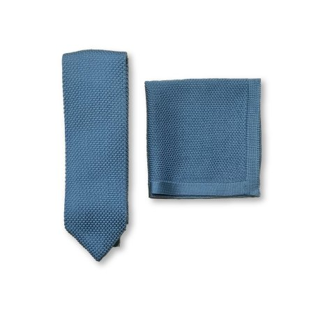 Air force blue knitted tie and pocket square set