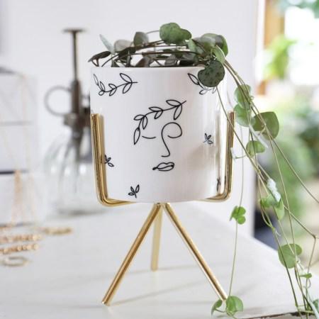 White Face Print Mini Planter and Stand, H14cm