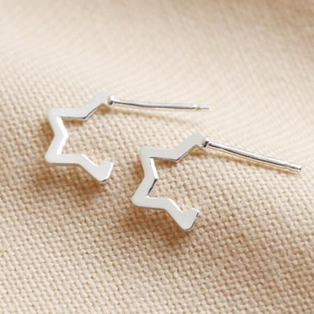 Sterling silver Star hoop Earrings
