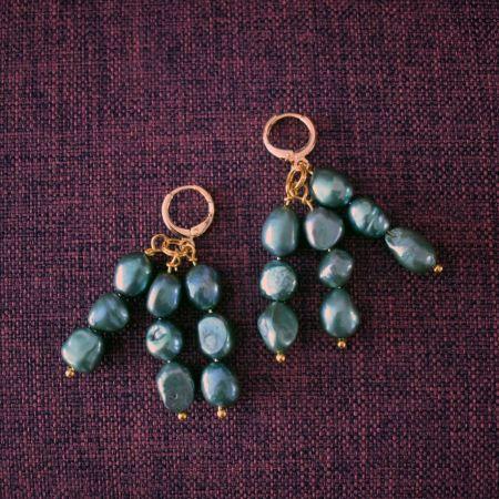 Igi (Trees) Dark Green Pearl earrings