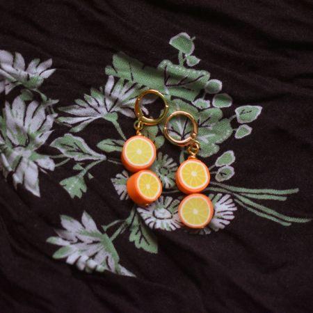 Double grapefruit earrings