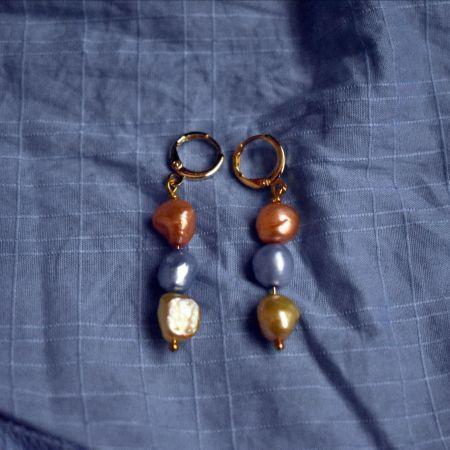 Meta Orange Gold Blue Trio earrings