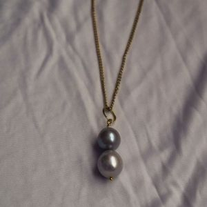 Large silver double pearl pearl pendant necklace