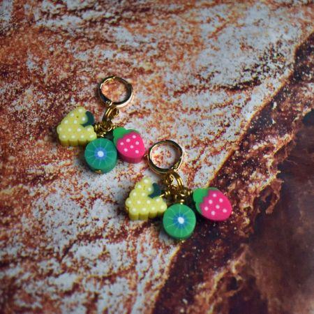 Fruit trio: White grapes, kiwis and strawberry Earrings