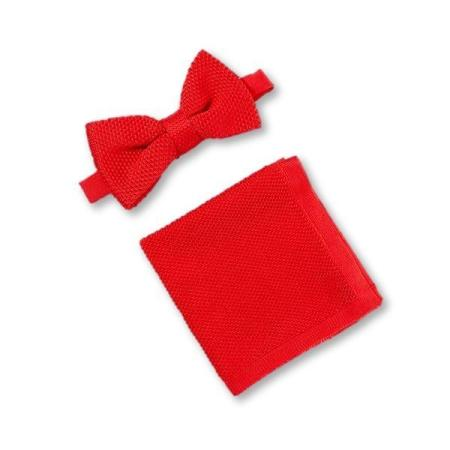 Pillar box red knitted bow tie and pocket square set