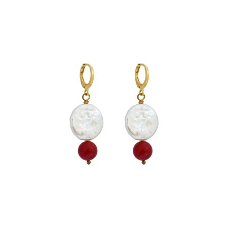 Coin Pearl Earrings with coral