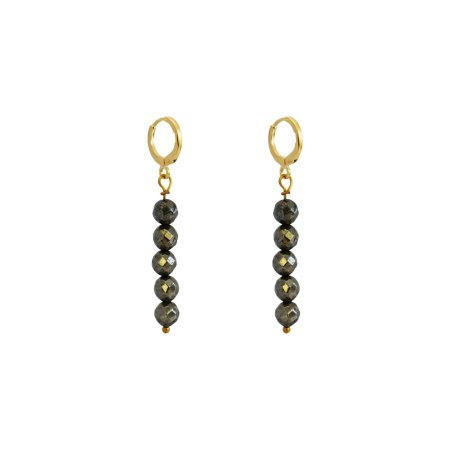 Faceted Drop of 5 Pyrite Stone Earrings