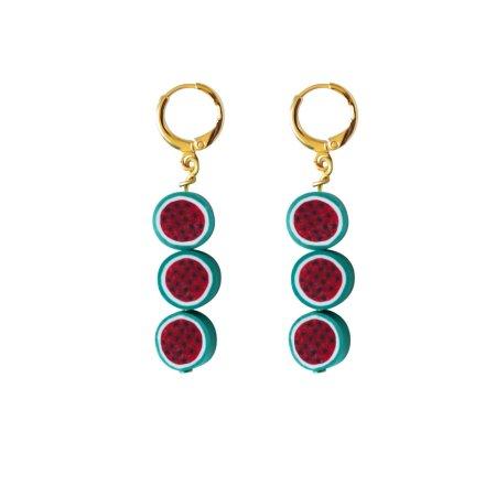 Triple watermelon earrings