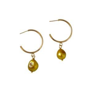 Gold Pearl Large Hoop freshwater pearl earrings