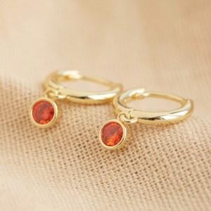 Gold Birthstone Huggie Hoop Earrings - November - Topaz