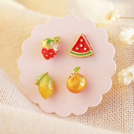 Set of 4 Mismatched Fruit Stud Earrings in Gold