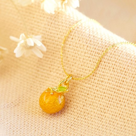 Tiny Orange Pendant Necklace in Gold