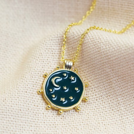 Reversible Day and Night Necklace in Gold