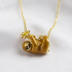 Enamel Sloth and Flower Pendant Necklace