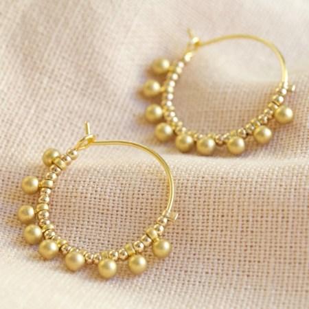 Gold Beaded Ball Hoop Earrings