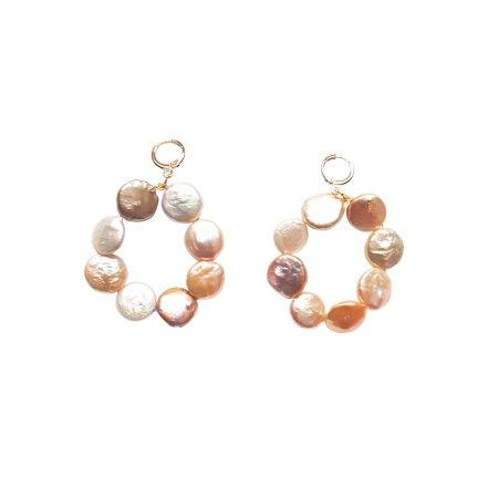Omo Love (Pastels Coin Pearl Hoop) earrings