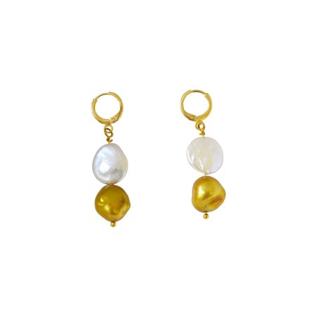 Coin and Bell Freshwater Pearl Earrings