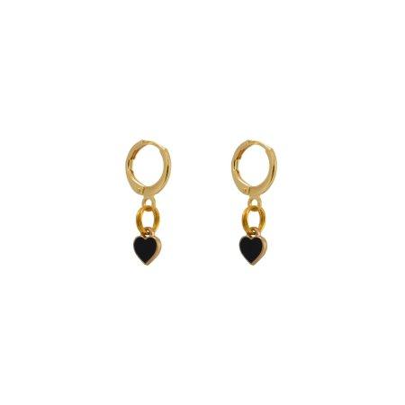 Small black heart earrings