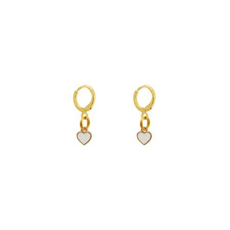 Small white heart earrings