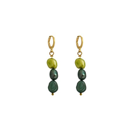 Meta, light and dark greens pearl earrings