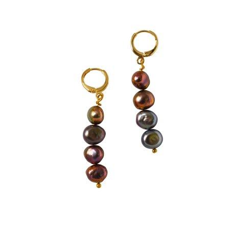 Dark brown/ purple potato pearl earrings