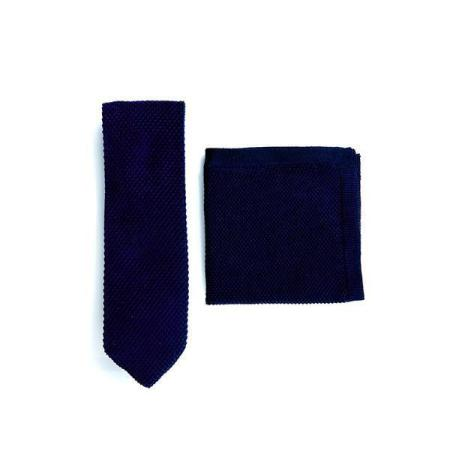 Navy blue knitted tie and pocket square set