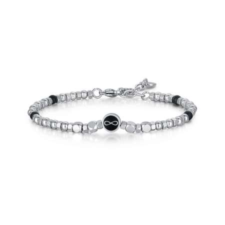 Stainless Steel Bracelet With Black Agate Beads And Infinity Symbol