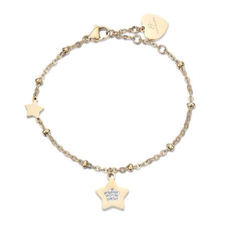 Gold Ip Stainless Steel Bracelet With Stars With White Crystals